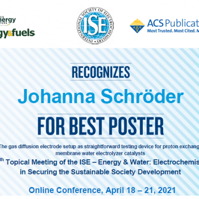 Johanna Schröder wins the best poster prize at the 29th Topical Meeting of the International Society of Electrochemistry